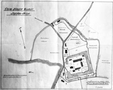 Lageplan-Skiizze des ehemaligen Benediktiner-Klosters, März 1923